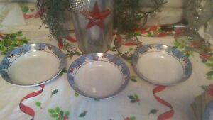 DEBBIE-MUMM-SAKURA-SNOWMAN-LOT-OF-3-BOWLS-VINTAGE-CHRISTMAS-FREE-SHIPPING