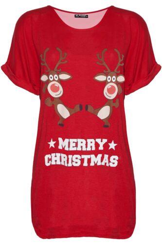 Womens Ladies Penguin Snowman Santa Christmas Xmas Oversized Baggy T Shirt Top
