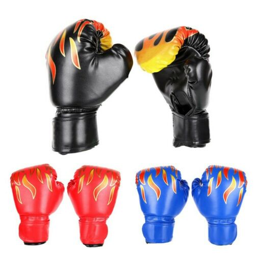 Kids Boxing Gloves PU Fire Flame Printed Fight Match Hand Protector Fitness USA
