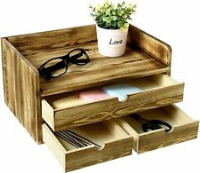 Torched Wood Desktop Document Amp File Holder With Drawer Office Supplies Organizer