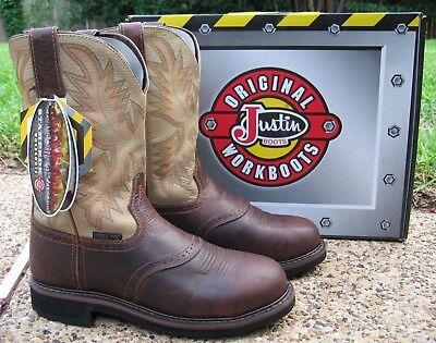 New Mens Justin Stampede Brown Leather Steel Toe
