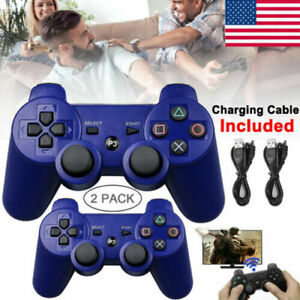 2PCS Blue Wireless Bluetooth Video Game Controller Pad for PS3 Playstation 3 US