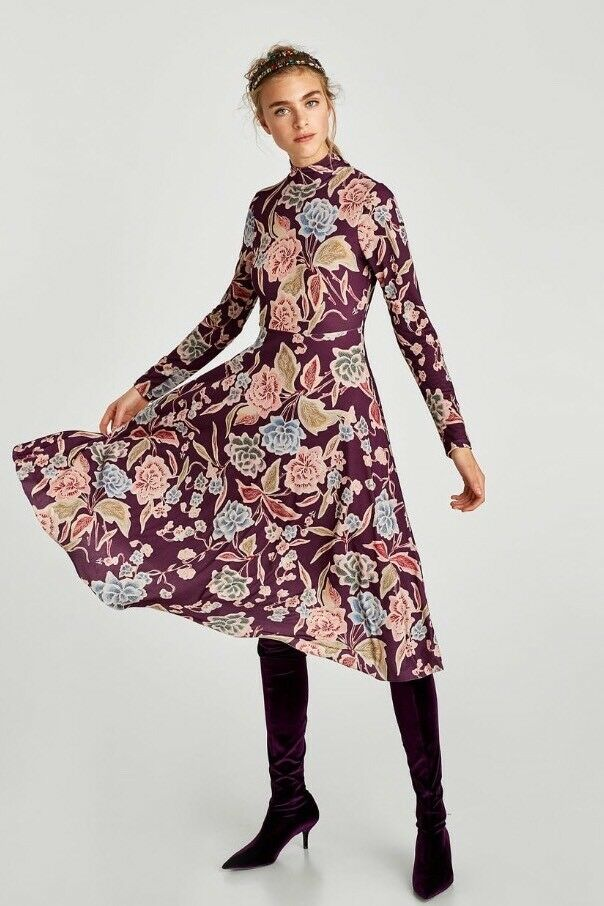 Zara Aubergine Pink bluee Floral Long Sleeves Dress Size M BNWT