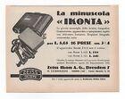 Pubblicità epoca1930 IKOFLEX IKONTA ZEISS PHOTO reklame advert werbung publicitè