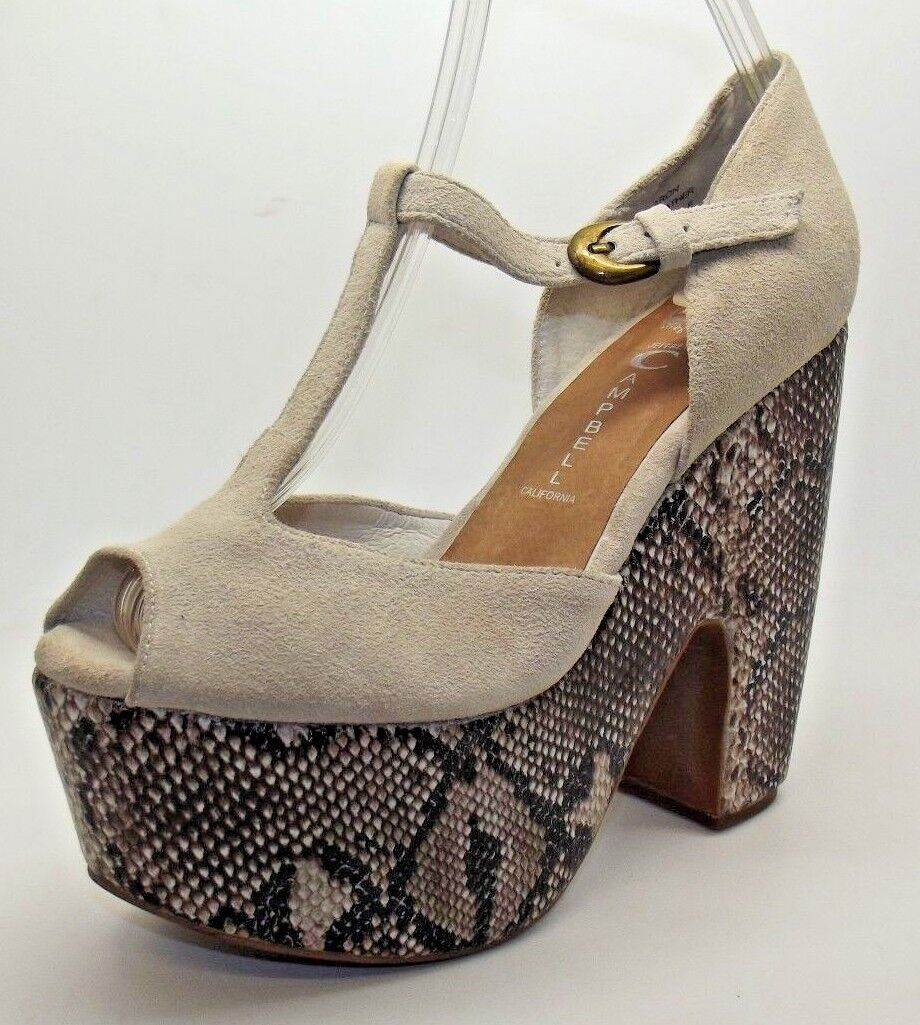 FAB LADIES JEFFREY CAMPBELL SHARON NUDE NUDE SHARON / SNAKE DESIGN SUEDE WEDGE SANDALS 4 - 7 390206