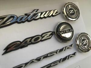 DATSUN-240Z-260z-280z-Full-Emblem-Set-in-Metal-bonnet-badge-qtr-badge-hatch