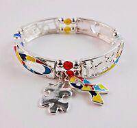 Autism Awareness Bracelet Stretchy Puzzle Piece Colorful Love Hope Adjustable