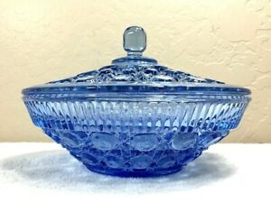 Vintage-Federal-Indiana-Glass-Windsor-Blue-Button-amp-Cane-Covered-Candy-Bowl