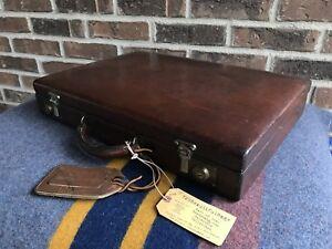 RARE VINTAGE 1970's DOPP BRAND SADDLE LEATHER BOX HARDSIDE BRIEFCASE BAG R$1298