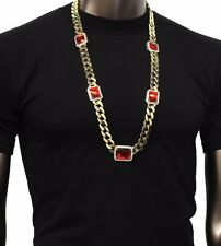 Mens Gold Thick Miami Cuban Curb Link Red Square Ruby Pendant Chain Necklace P6