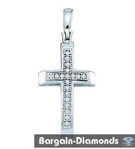 Details about diamond Christian cross pendant 925  05-carat faith hope  protection love promise