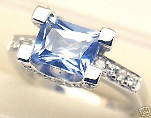 Lab simulated Aquamarine Sliver Ring March #123