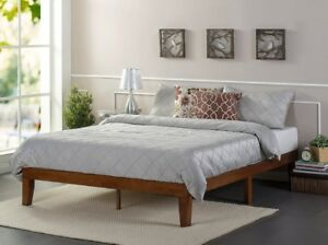 Twin Platform Bed Frame Wood Cherry No Boxspring 12 Inch High Slat