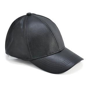 583f3c1fe Details about Unisex Men Women Leather Baseball Cap Snapback Visor Sport  Sun Adjustable Hat