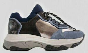 Bronx Schuhe BAISLEY Blue Asphal 66167E-ML-3413 Damen Echtleder plateau Sneaker