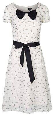 mymust blanc Libellule Imprimé élégant robe avec noeud et ceinture