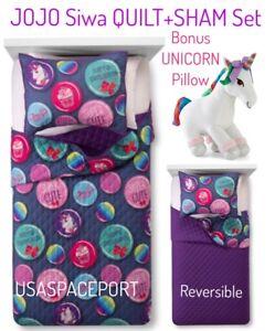 Jojo Siwa Quilt Sham Decor Unicorn Pillow Set Girls Twin