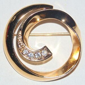 Vintage-gold-tone-clear-white-rhinestone-spiral-circle-pin-brooch-unsigned-Avon