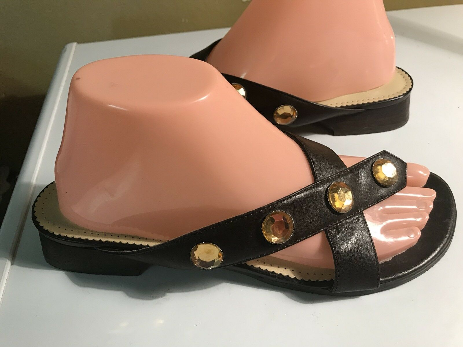 Etienne Aigner LEANNA BROWN 8.5M LEATHER SANDALS RHINESTONE SZ 8.5M BROWN 7f88f6