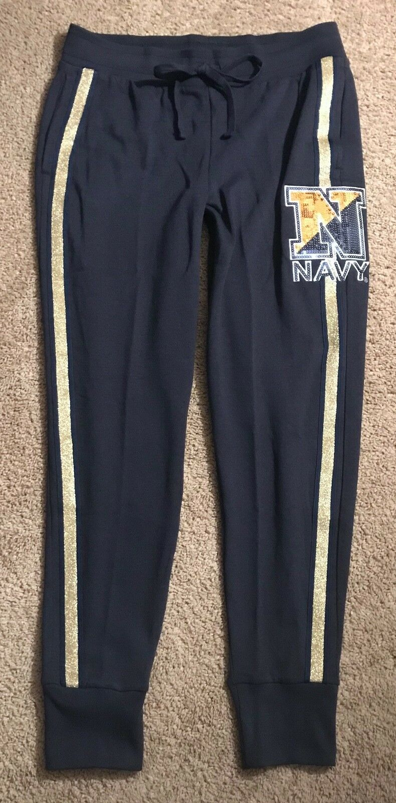NWT VICTORIA'S SECRET PINK U.S. NAVY blueE gold STRIPE BLING JOGGER SWEATPANTS