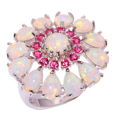 White Fire Opal Kunzite Women Jewelry Gemstone Silver Ring Size 7/8/9/10 OJ6184