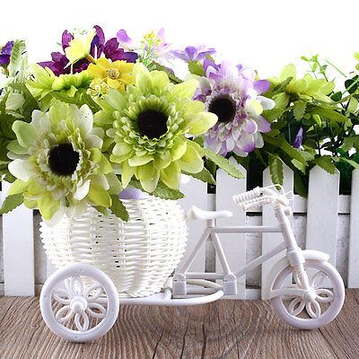 Plastic White Bike Design Flower Basket Container Plant Party Decoration
