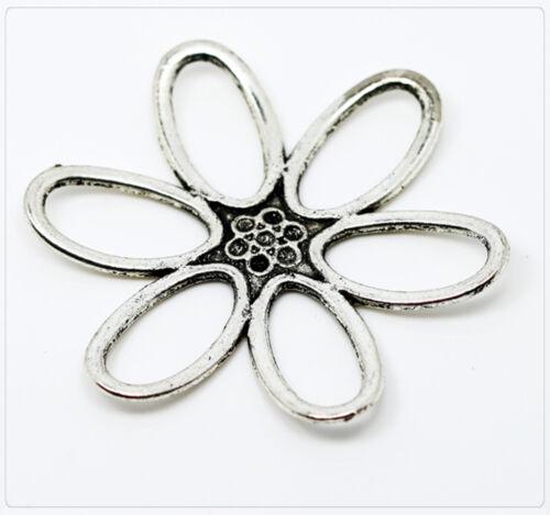 1x XL metal perlas colgante flor los conectores entre parte joyas DIY 50mm