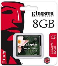 Kingston 8GB CF 8G CF Compact Flash memory card high Speed CF/8GB Retail