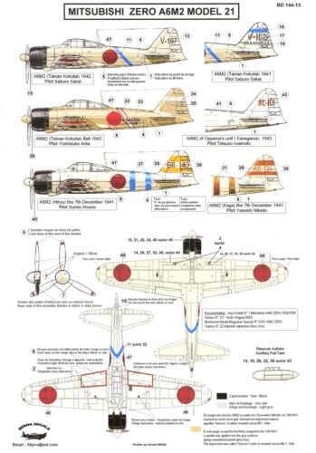 Berna Decals 1//144 MITSUBISHI A6M2 MODEL 21 ZERO Fighter Saburo Sakai