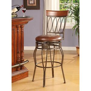 Fine Details About Oval Back Bar Stool Curved Legs Round Swivel Padded Seat Brown W Bronze Finish Machost Co Dining Chair Design Ideas Machostcouk