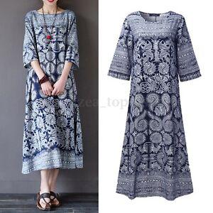 ZANZEA-Women-3-4-Sleeve-Loose-Vintage-Floral-Print-Cotton-Evening-Party-Dress-US