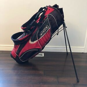 Details About Ogio Vector Woode Golf Bag Stand Carry Red Black 10 Way Arc Management System
