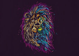 A1-Majestic-Lion-Poster-Print-A1-Size-60-x-90cm-Abstract-Wall-Art-Gift-14774