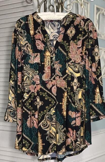 NEW Plus Size 2X Black Paisley Gold Orange Pin Tuck Top Jersey Shirt Blouse