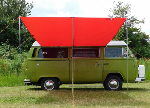 Debus VW Campervan Sun Canopy Awning + T2 T25 Connection Kit - Chianti Red