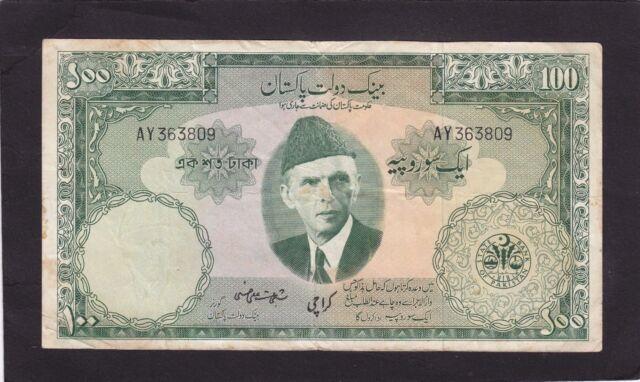 Pakistan  100 Rupees 1957 P-18c Karachi  VG+ stains