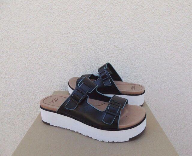 UGG Hanneli Black Leather Platform