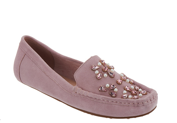 Isaac Mizrahi Live  Suede Embellished Moccasins Light Pink Alexa Women's 6W New