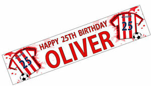 PERSONALISED-BANNER-NAME-AGE-PHOTO-BIRTHDAY-FOOTBALL-65th-66th-67th-red-white-K4