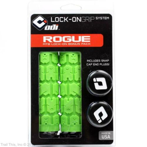 Lime Green ODI Rogue Lock-On Bike Grips w// Black Clamps 130mm for BMX//MTB