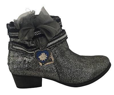 Stiefelette Damenschuh Sneaker Stiefel LederImitat Schwarz Silber Party Freizeit