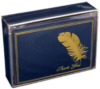 Gold Feather On Blue - Pictura Box Of 14 Thank You Cards
