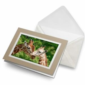 Greetings-Card-Biege-Mother-Baby-Giraffe-Animals-15587