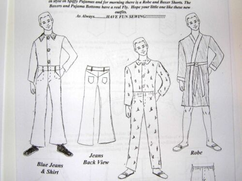 """NG Creations Two Sewing Patterns Real Man Wardrobe fit 12/"""" KEN Doll Jeans Boxers"""