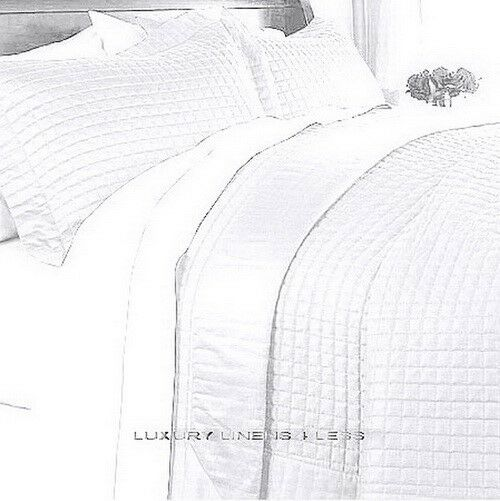 HOTEL MODERN Reversible SOLID Pure White Quilt Coverlet Set Twin Queen King