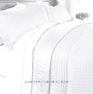 Image Is Loading Hotel Modern Reversible Solid Pure White Quilt Coverlet