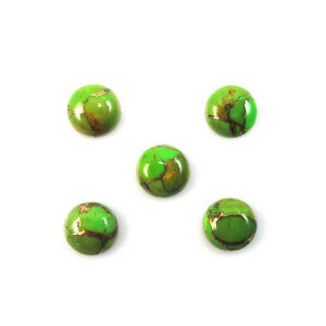 AAA-Qlty-15-PC-Green-Copper-Turquoise-15-MM-Round-Loose-Cabochon-Gemstone