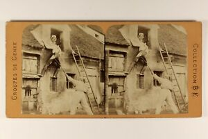 L Aiuto A Amanti Scena Da Genere c1865 Fumetto Foto Stereo Vintage Albumina