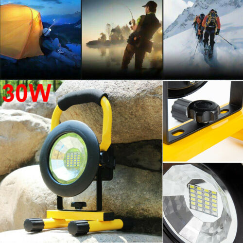 30W LED Rechargeable Cordless Mobile Portable Work Site Flood Light Fishing Lamp