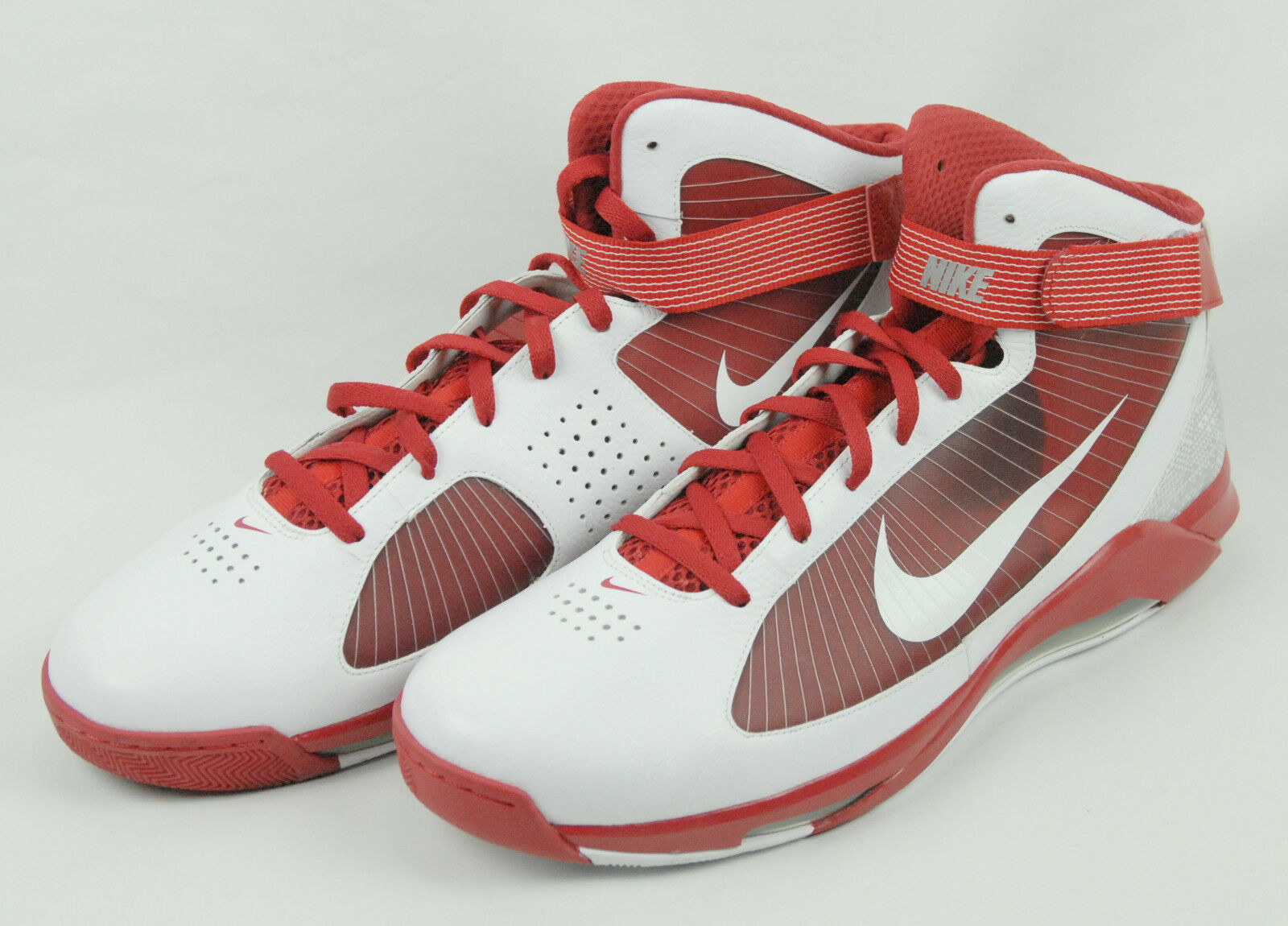 Nike Air Max basketball shoes men's red & white hightops size US 17.5